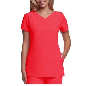 Grey's Anatomy Scrubs V-Neck Top Coral NWT